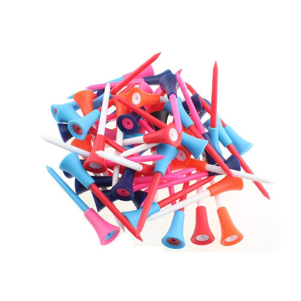 kofull 50個入り混合カラーラバークッショントッププラスチックゴルフティーラバーヘッド付き耐久性プラスチック練習ゴルフティー(ミックス、70mm(2-3 / 4
