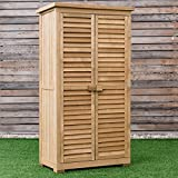 Goplus Outdoor Storage Shed Wooden Shutter Design Fir Wood Lockers for Garden