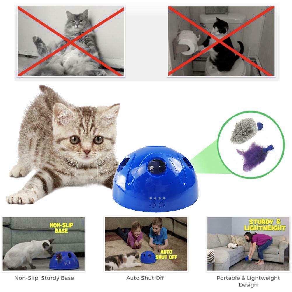 Funciona con bater/ía YETE Dispositivo de rascado el/éctrico Play Ball Pet Cat con Mouse y Pluma Intercambiables para el Ejercicio del Gato y la diversi/ón con Otros