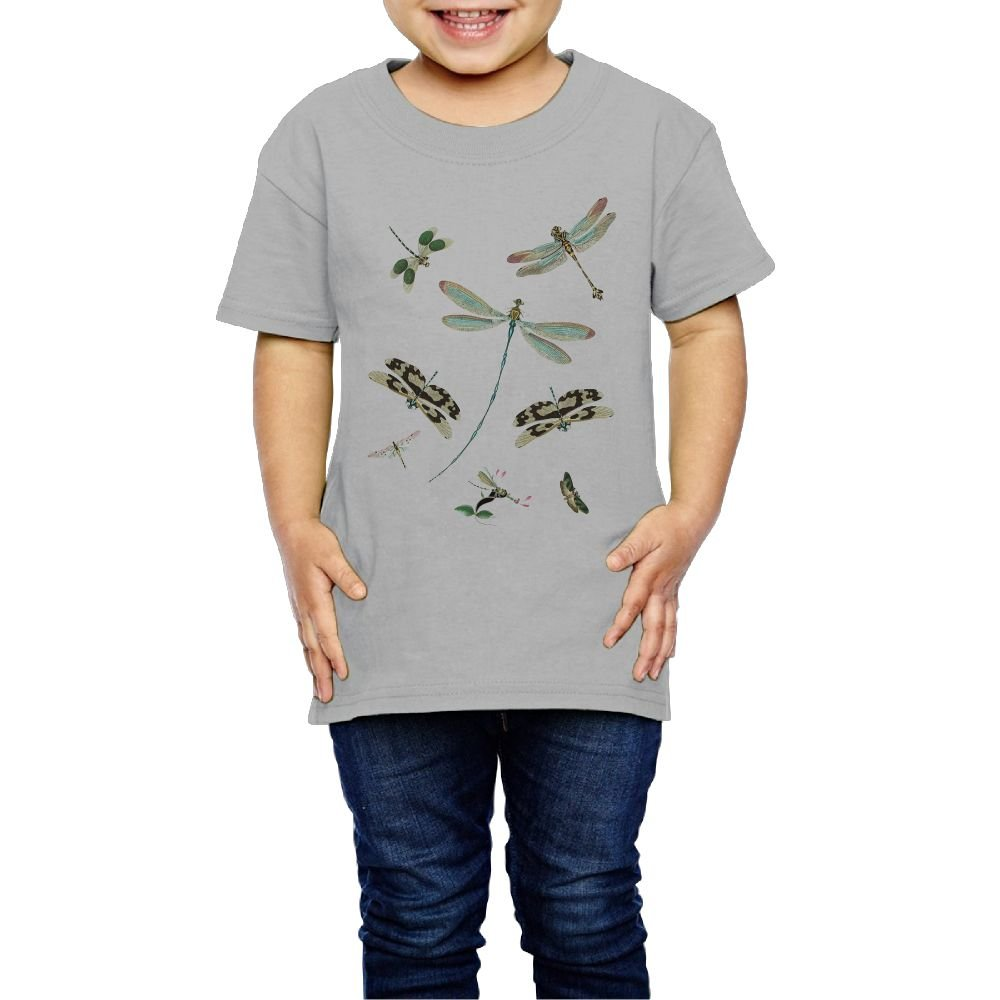 Yishuo Kids Vintage Dragonflies Cool Running Shirts Short Sleeve Gray 4 Toddler
