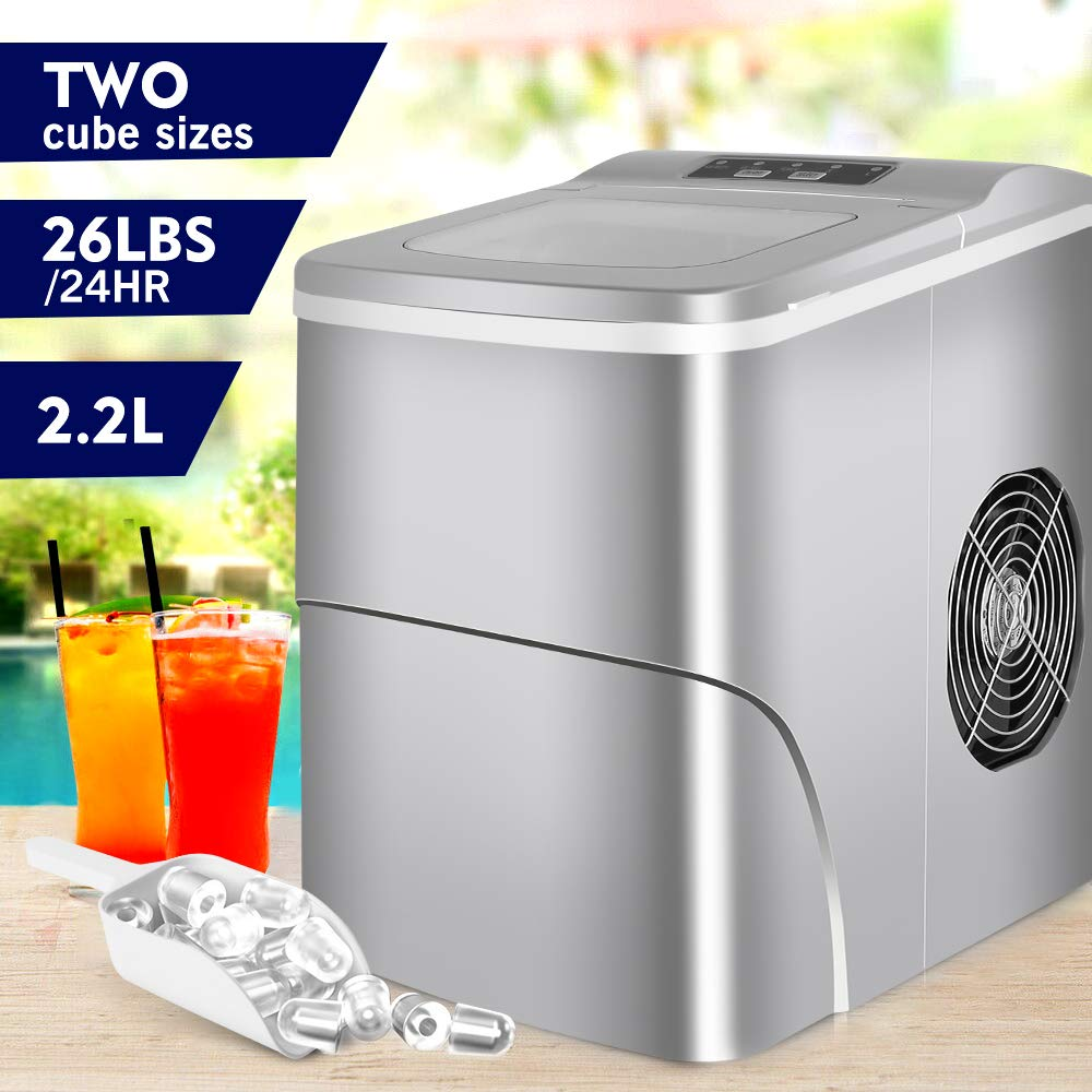 HEMBOR Portable Ice Maker Automatic Machine with Ice Scoop & Bucket, Small/Large Cubes, 9 Bullet Ice Ready in 6 Minutes, Makes 26 lbs Ice in 24 hrs, for Kitchen, Bars, Parties and Camping Vacations
