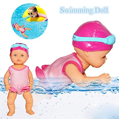 Sanmubo Swimming Doll Cute Electric Swimming Toy Waterproof Bathtub Toy for Kids Baby Holiday Birthday Gift - Battery Operated and Really Swims: Home & Kitchen