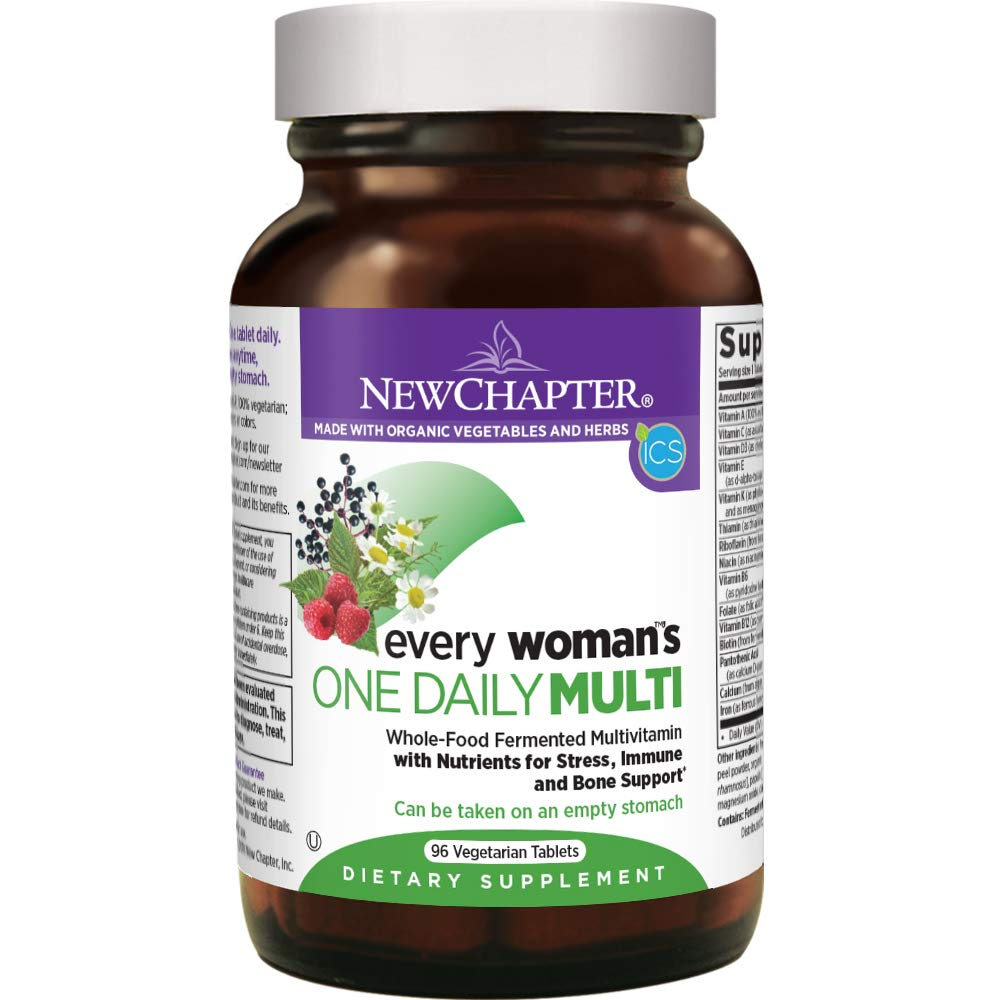 New Chapter Every Woman's One Daily, Women's Multivitamin Fermented with Probiotics + Iron + B Vitamins + Vitamin D3 + Organic Non-GMO Ingredients - 96 ct (Packaging May Vary)