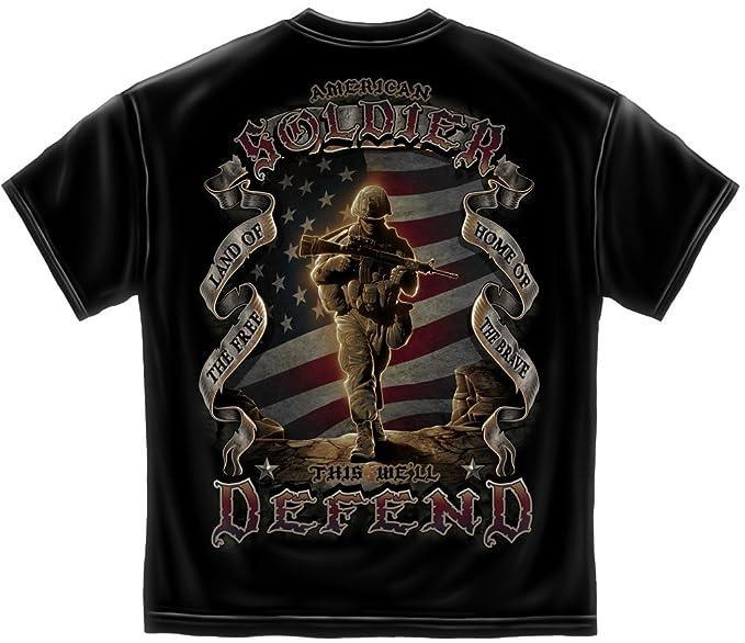 bcd9ca29 Amazon.com: Erazor Bits Military T-Shirt American Soldier Black ...