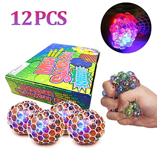 JIXUN Anti-Stress Decompression Ball LED Mesh Squeeze Grape Ball Toys Home and Office Use Stress Relief Toys for Kids Adults 12 Pack