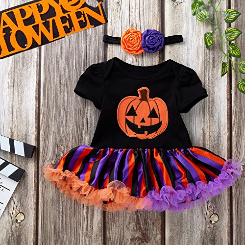 MOKO-PP Infant Toddler Baby Girls Halloween Pumpkin Bow Party Dress Clothes Dresses(black,59) -