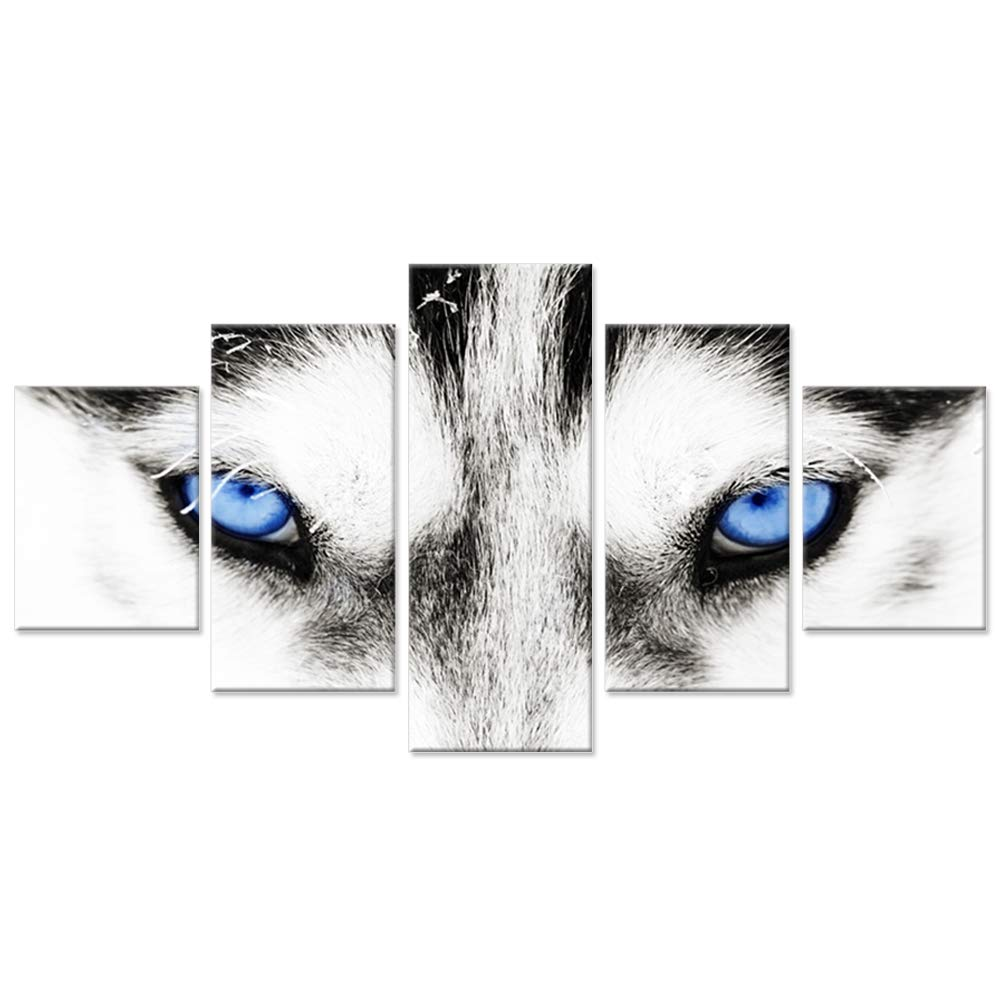 Hello Artwork - Large Canvas Wall Art Black and White Wolf Dog With Blue Eyes Poster Animal Face Head Series 5 Pieces Abstract Picture Painting Home Decor Wall Art