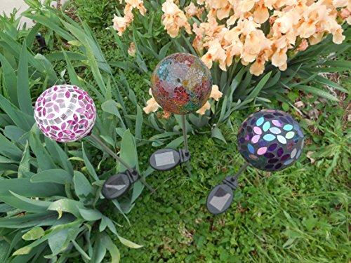 Set of 3 Ball Globe Lights, Mosaic Crackle Colorful Glass...