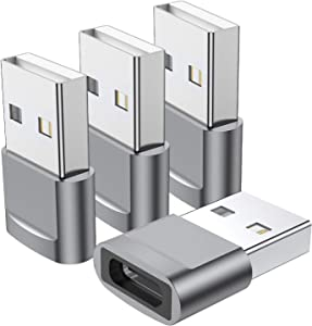USB C Female to USB Male Adapter 4-Pack,Type C to USB A Charger Cable Adapter,Compatible with iPhone 11 12 Mini Pro Max,iPad 2020,Samsung Galaxy Note 10 S21 S20 Plus,Google Pixel 5 4A 3a 2 XL(Grey)