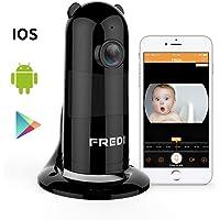 1080P HD Wlan IP Kamera Haustier Kamera Sicherheitskamera IP Cam Überwachungskamera FREDI Wlan Netzwerk Kamera Kabellos Panorama Hund Videoüberwachung mit IR Nachtsicht /Bewegungsmelder /Baby Monitor für Haus/Baby Überwachung(schwarz)