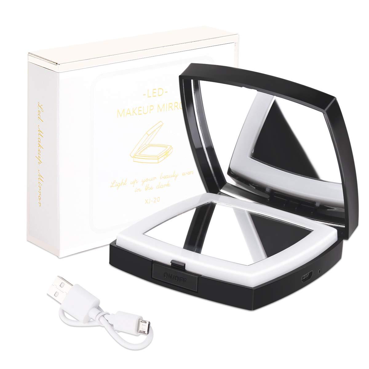 Ragbarer Taschenspiegel Zweiseitiger Kosmetikspiegel mit 1X / 10X VergrößErung, USB Wiederaufladbar, Dreifarbig Schaltend, Klappbarer Kompaktspiegel, Spiegel füR Unterwegs,Diamant, Schwarz Spiegel füR Unterwegs Iadong