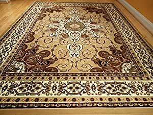 New persian style rug 5 39 x8 39 beige brown rug - Gold rugs for living room ...