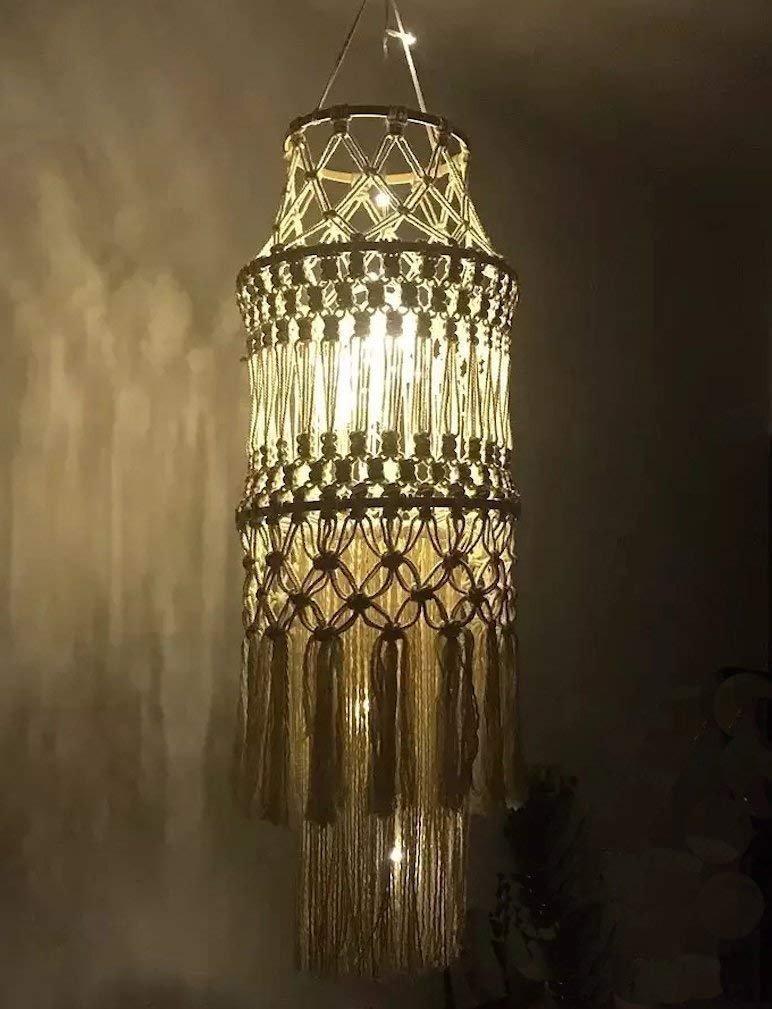 Macrame Fringed Lamp Shade Home D/écor Handmade,9.8Wx 57L 9.8Wx 57L Flber FLBER-JP010