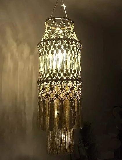 Macramé con flecos lámpara de techo, casa decoración hecha a ...