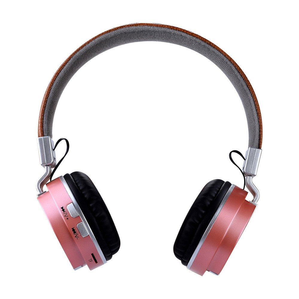 1x BTH-858 Headset, Bluetooth Headphones Over Ear Stereo Wireless Headset With Microphone By Ugood (Rose Gold)