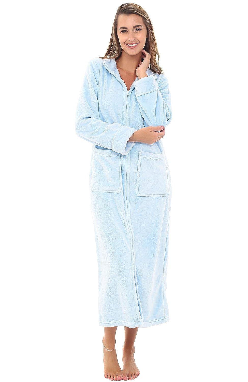Alexander Del Rossa Womens Fleece Robe, Zip-Front Bathrobe A0307