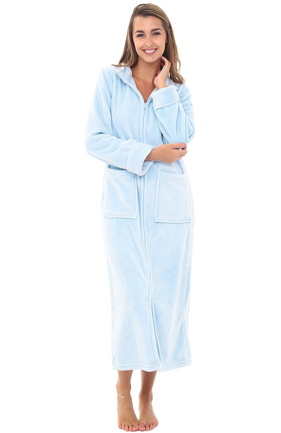 Alexander Del Rossa Womens Fleece Robe, Zip-Front Bathrobe, 2X Light Blue (A0307LBL2X)