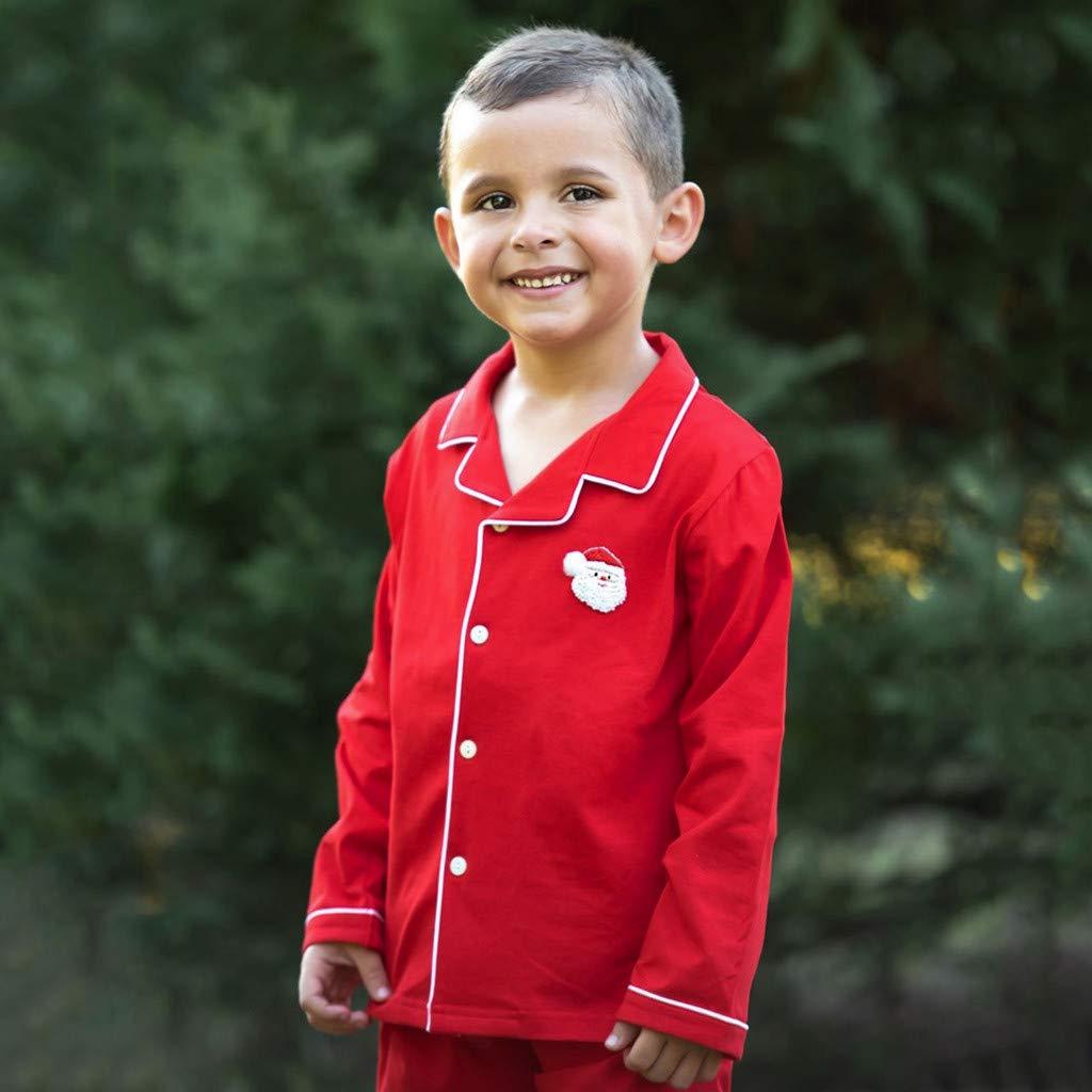 Muium Christmas Bebe Fille Gar/çon Pyjamas Maison Ensemble,Imprim/é P/ère No/ël /à Manches Longues pour Enfants Pyjama Service /à Domicile