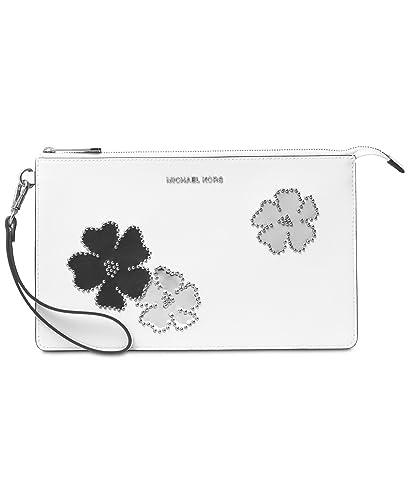 cd7dfe86ee524d Womens Fulton Carryall Leather Wallet MICHAEL Michael Kors Daniela Large  Wristlet (One Size, Optic White) ...
