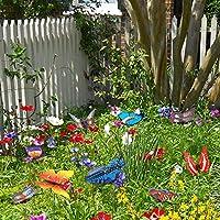 32pcs Mariposas Libélulas Coloridas de Jardín Adornos de Patio en Palos para Decoración Ornamento de Jardín Planta Yarda Exterior, 24 Jardín Mariposas Estacas, 8 Jardín Libélulas Estacas, 4 7 8.5 10cm: Amazon.es: Hogar