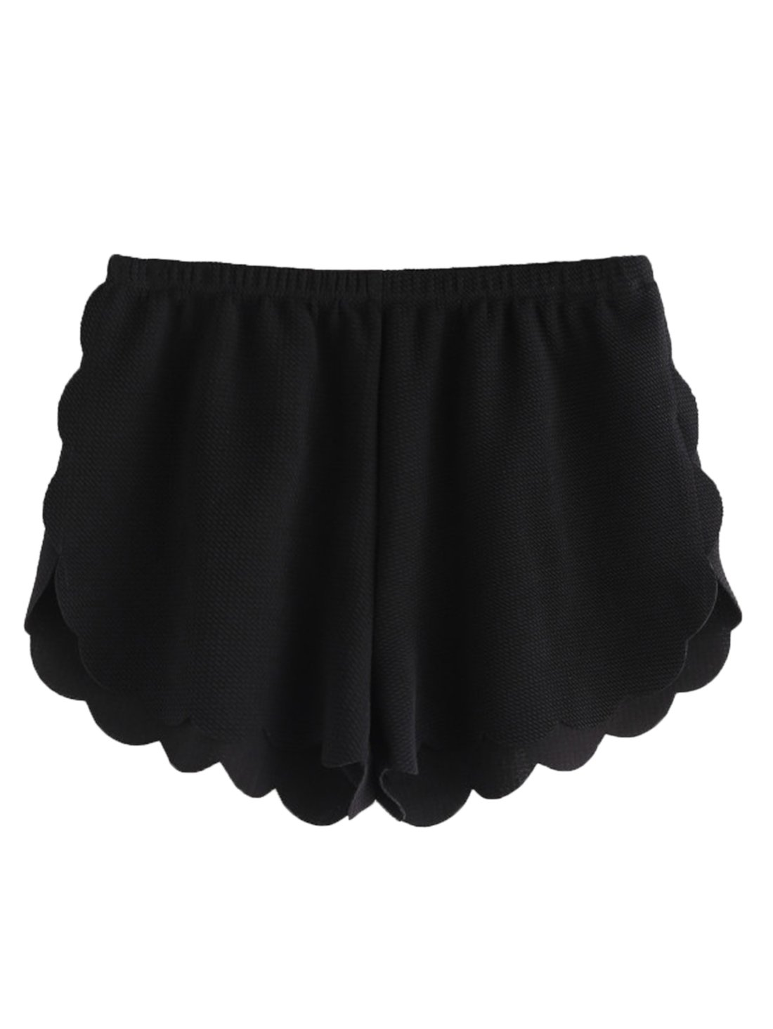 MakeMeChic Women's Solid Elastic Waist Scalloped Casual Fitted Shorts Black M