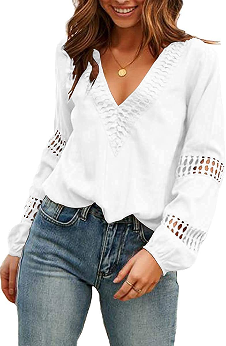 Viracy Womens V Neck Lantern Long Sleeve Blouse Hollow Out Casual Shirts Tops