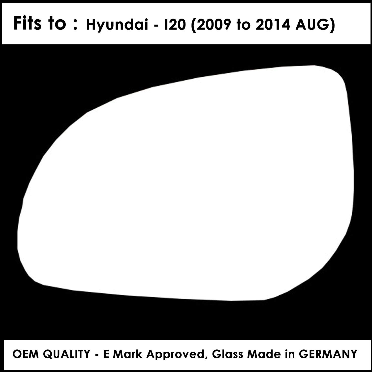 HYU-I20 2009 to 2014 Silver Door Mirror Glass LH(Passenger Side)