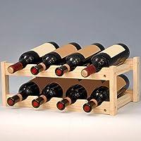 Casier à Vin Étagère à Bouteille 2 Etages de 8 Bouteilles Créatif Casier à Vin Bois Nature, Casier à Vin Empilable Range-Bouteilles, Rack de Stockage 45 * 26 * 16.5cm