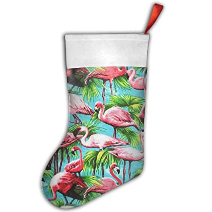 LAIER Tropical rojo Flamenco Festival de personalizado feliz Navidad calcetín de Papá Noel calcetines bolsa de