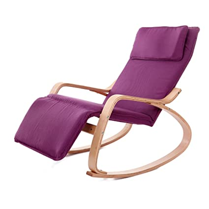 Charmant Rocking Chairs WSSF Balcony Relaxing Chaise Lounges Solid Wood Single  Cotton Fabric Cushion Recliners Adult Nap