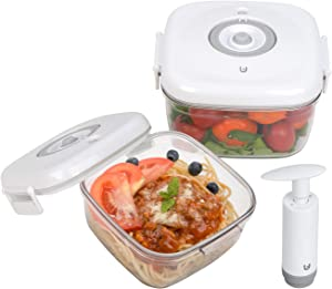 Vacuum Food Storage Containers with Lids, BPA Free Vacuum Seal Food Containers Set Locks Freshness for Meal Fruit Kitchen Food Prep (2 Containers670+1360ML, 1 Pump)