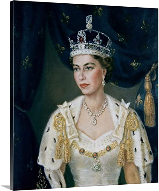 Queen Elizabeth of hearts  Playing card Picture Print On Framed Canvas Wall Art