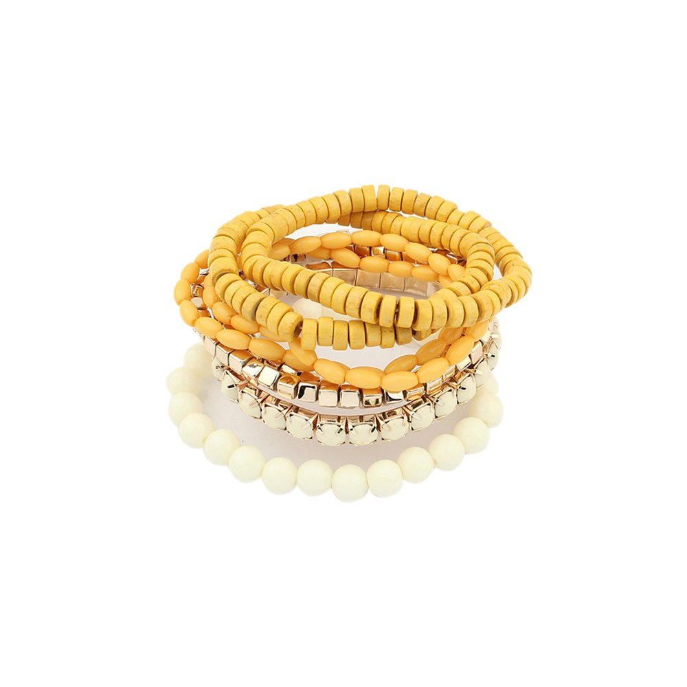 Lureme Bohemian Beads Cube Multi Strand Stretch Stackable Bangle Bracelet Set-Yellow (bl003172-5)
