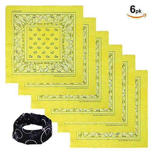 Basico Bandanas Value Pack 100% Cotton Paisley Head Wrap with Tube Face Mask/Headband (6pk- Yellow) (Yellow Bandana Paisley)