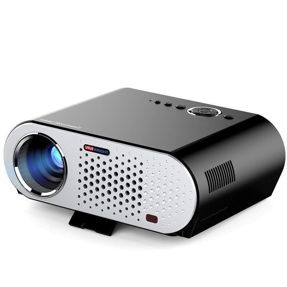 ビデオプロジェクター、LED ポータブルホームシアタープロジェクターサポート 1080P HD HDMI USD SD カード VGA AV 屋外屋内 PC/ノートパソコン/DVD/テレビ用 B07QQC4968