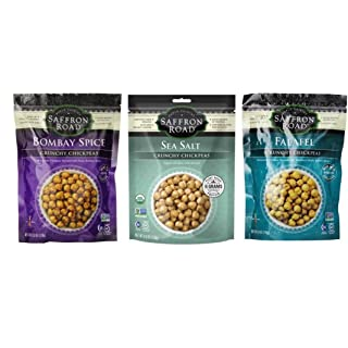 Saffron Road Crunchy Seasoned Chickpeas Snack 3 Flavor Variety Bundle: (1) Saffron Road Sea Salt Chickpeas, (1) Saffron Road Bombay Spice Chickpeas, (1) Saffron Road Falafel Chickpeas, 6 Oz. Ea.
