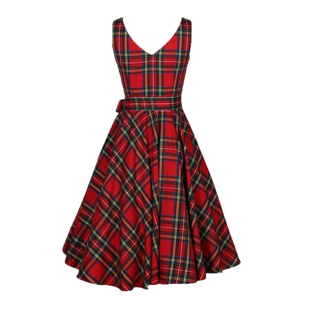 ARINLA Womens Plaid Bodycon Sleeveless Casual A-line Dresses DRESS-ELEGANT-U7H