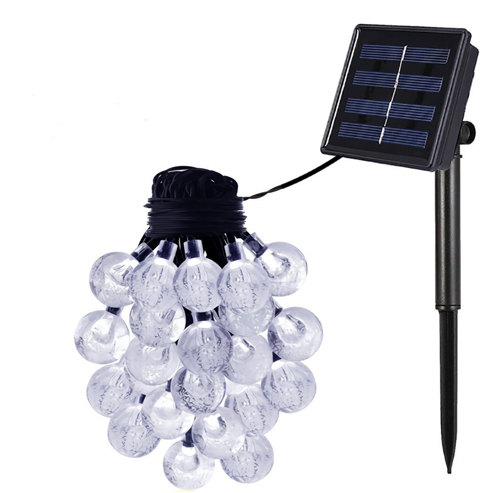 Outdoor Bistro Solar Powered Globe String Lights: Esky Solar Crystal Ball String Lights, 30 LED, 20ft