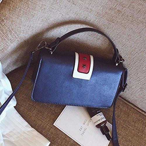 Hembra Coreano Otoño E Invierno Nuevo Personalidad Moda Remaches Portátil Messenger Pequeña Bolsa Cuadrada Blue