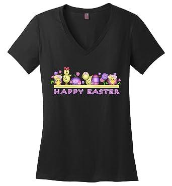 713a35dbca202 Amazon.com: TSHIRTAMAZING Happy Easter Chicks Ladies V-Neck: Clothing