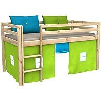 Cama de juego,cama para niños,de alta,cama con cortinas,colchón,somier,blanco,muchos