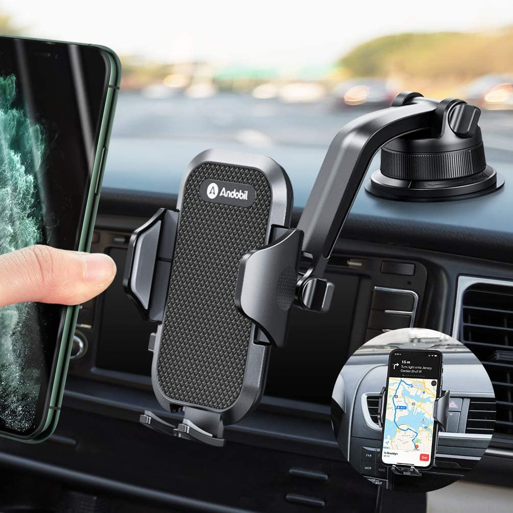 Andobil Car Phone Mount Easy Clamp, Dashboard Windshield Air Vent Cell Phone Holder Anti-Shake Strong Suction Universal Cradle Compatible iPhone 11 Pro Max/XS/SE/7, Samsung Galaxy S20+/Note 10/S8 Plus