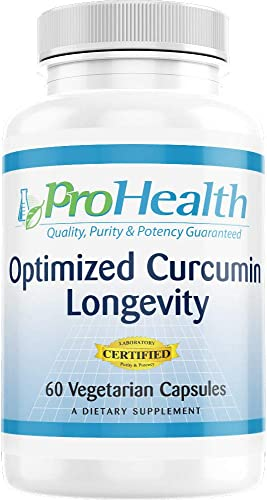 ProHealth Optimized Curcumin Longevity with Neurophenol – Wild Blueberry and Grape Extracts 60 Vegetarian Capsules – 30 Day Supply
