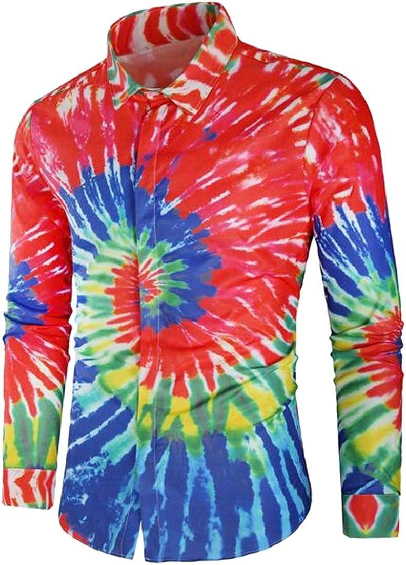 Jotebriyo Men Button Down Long Sleeve Slim Casual Business 3D Print Dress Shirts