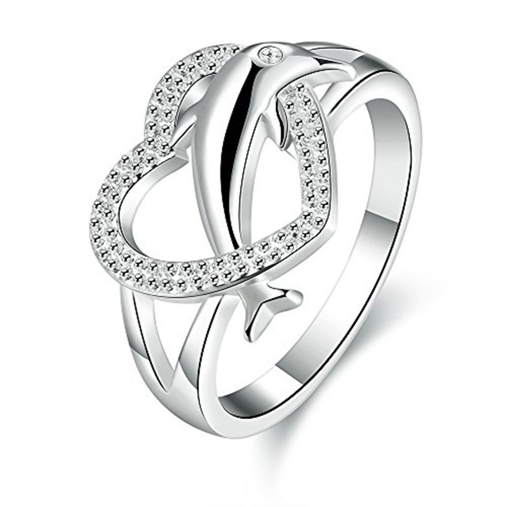 Haoze Womens 925 Sterling Silver Plated Heart Dolphin Cute Eternity Ring Love Promise Wedding Band QQW-1