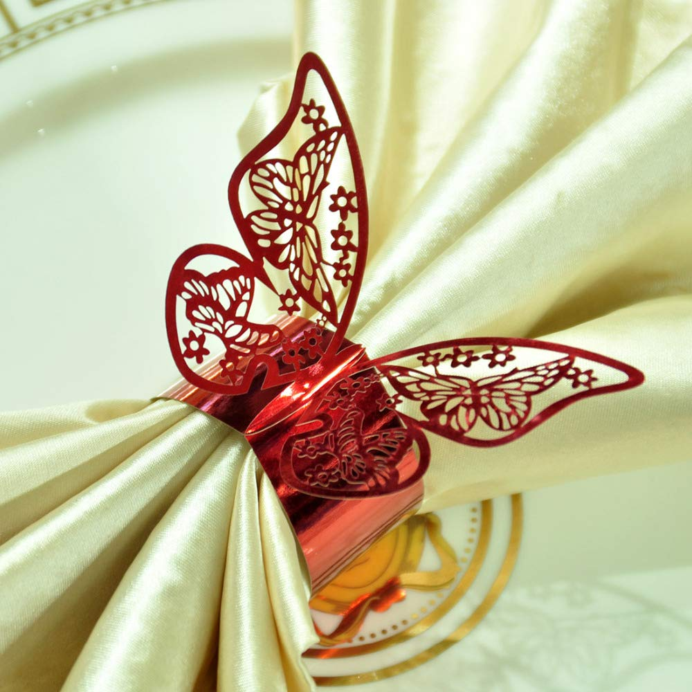 Culturemart 50pcs/lot Red Butterfly Design Table Paper Napkin Rings for Wedding Party Decoration