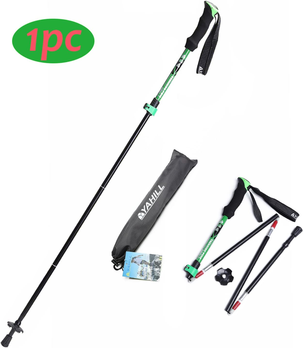 YAHILL Folding Trekking Pole Collapsible Stick Ultralight Adjustable, Alpenstocks with EVA Foam Handle, or Tips Protector Replacement Set for Travel Hiking Camping Climbing Backpacking Walking