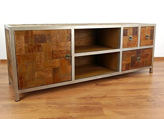 Teakholzmöbel  Java Teak Wood Sideboard from metal and 3 Drawers 1 Door, TV and ...