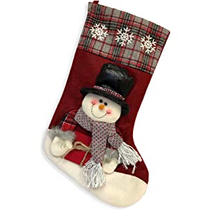 Snowman Xmas Stocking Glitzhome Handmade Hooked 3D Classic Red White Buttons NWT