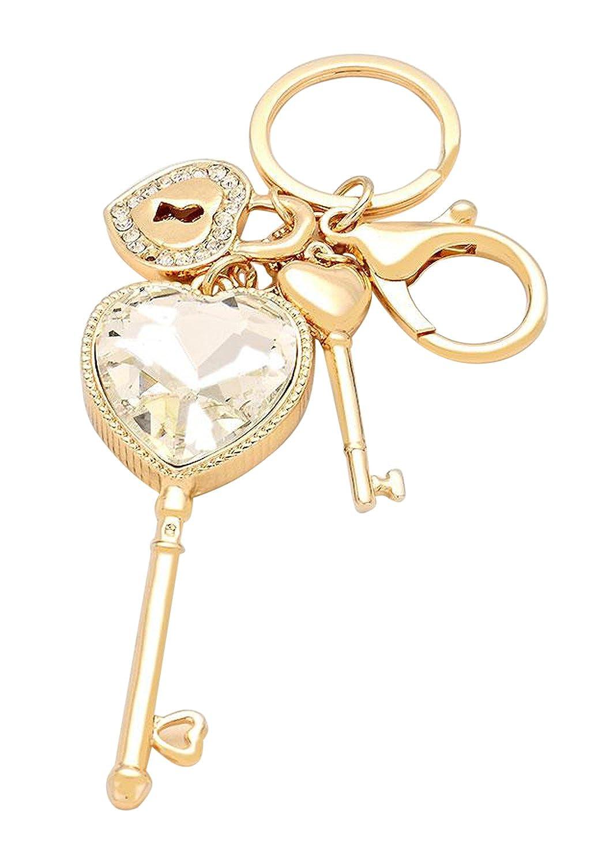 "Rosemarie Collections Women's Love Theme Keychain Handbag Charm ""Key To My Heart"""